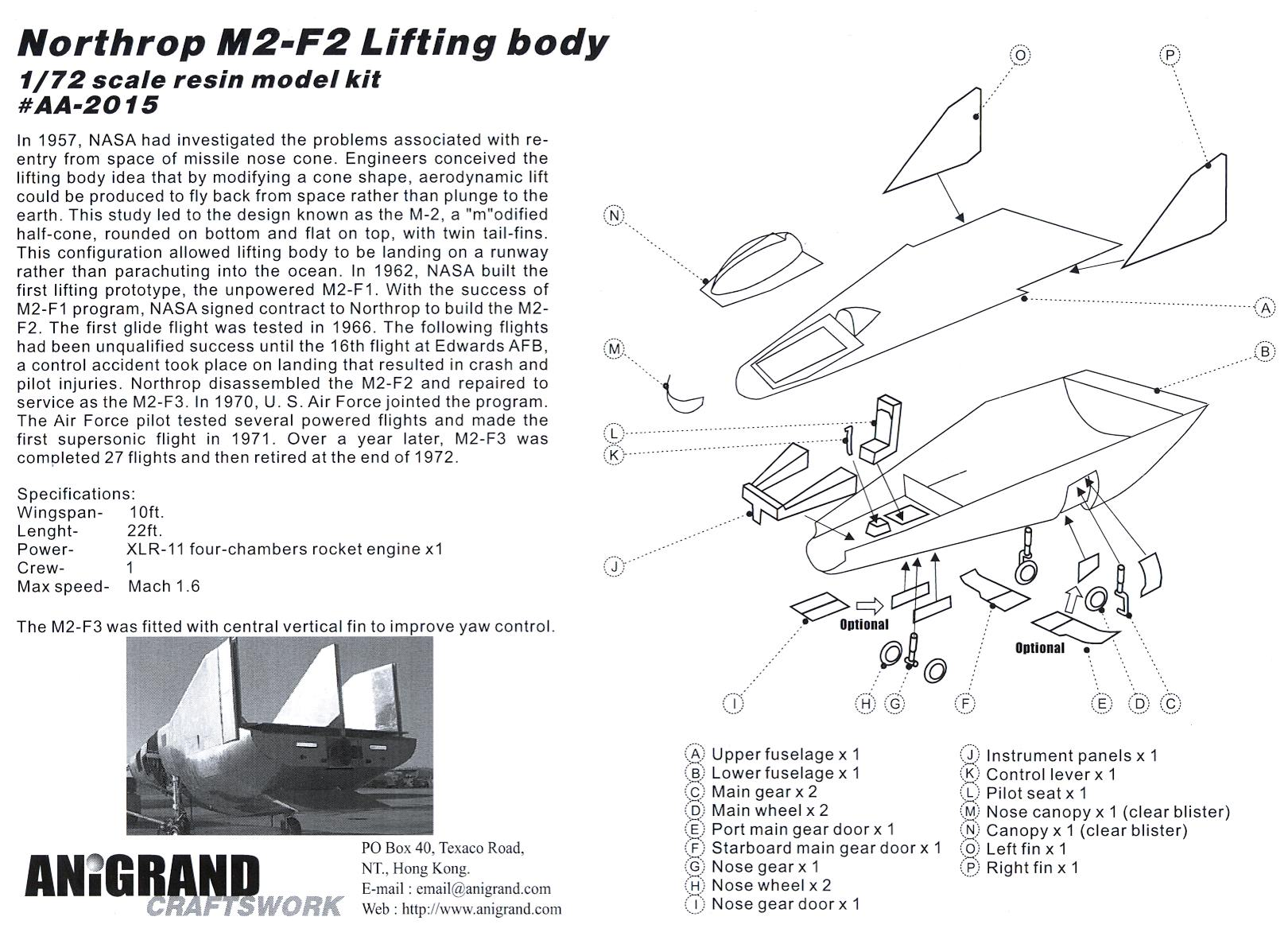 Anigrand Models 1 72 Northrop M2 F2 Powered Lifting Body