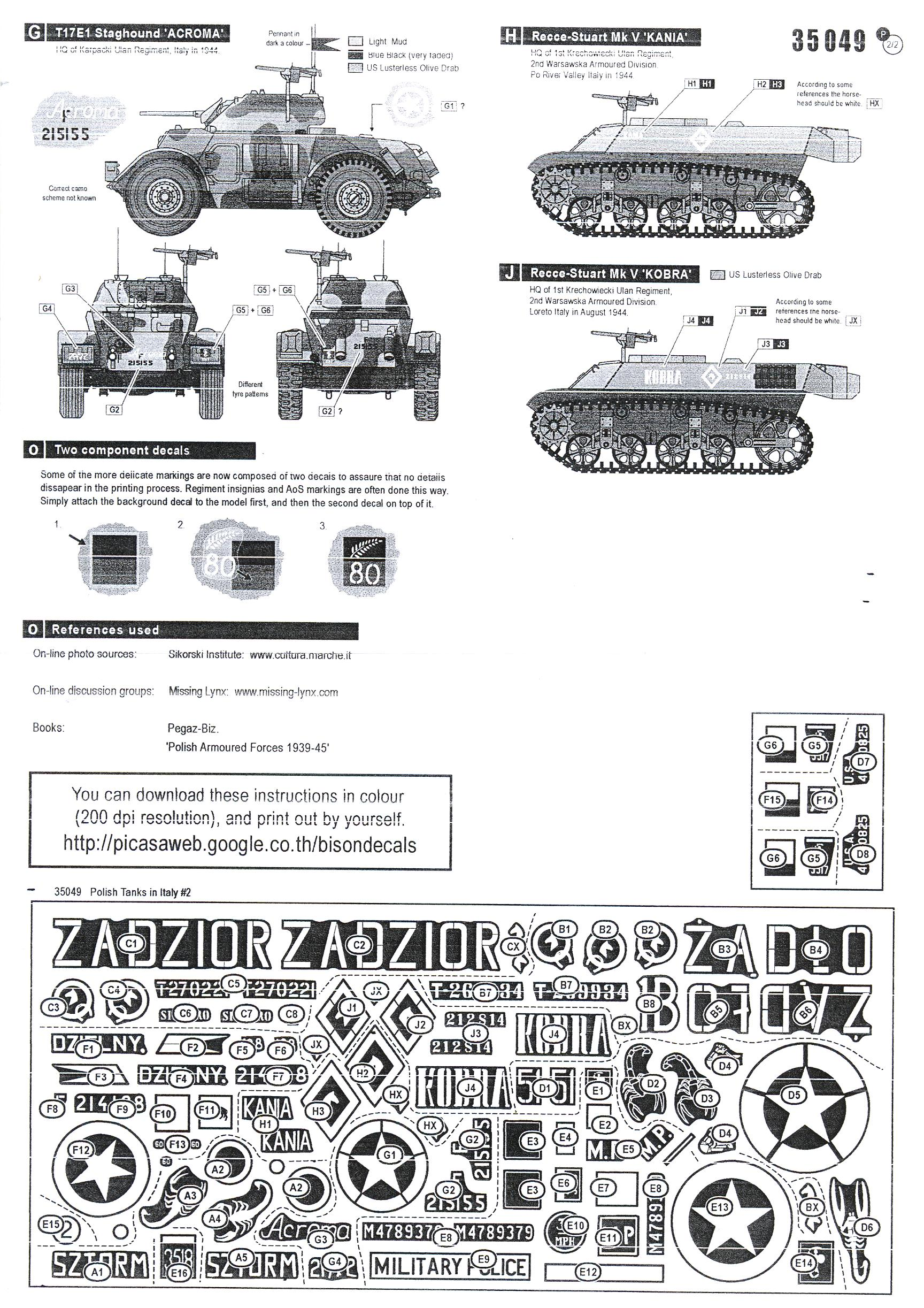 Bison Decals 1 35 Polish Tanks In Italy 2nd Armoured