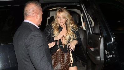 Stormy Daniels stepping out of a car