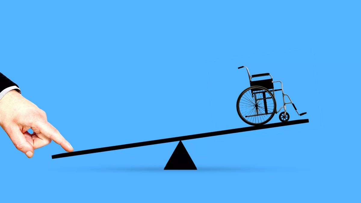 Illustration of a wheelchair on one side of a seesaw with a hand pressing down the other side.