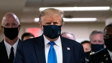 Trump wearing a face mask in Walter Reed on July 11.