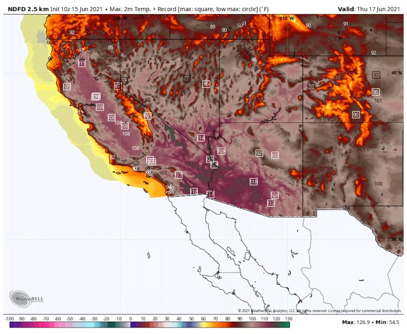 Weather map showing record heat, in red colors, across the Southwest.