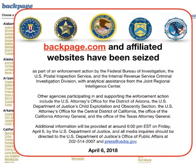 A Screenshot Shows The Message Posted To Backpage Saying It Had Been Seized
