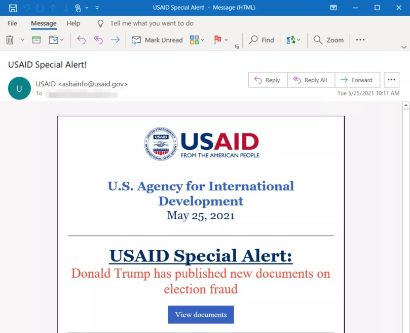 An example of a phishing email meant to resemble a legitimate email from USAID.