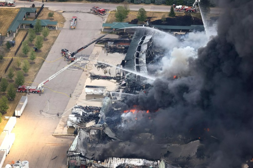 Firefighters battle the Chemtool industrial fire.