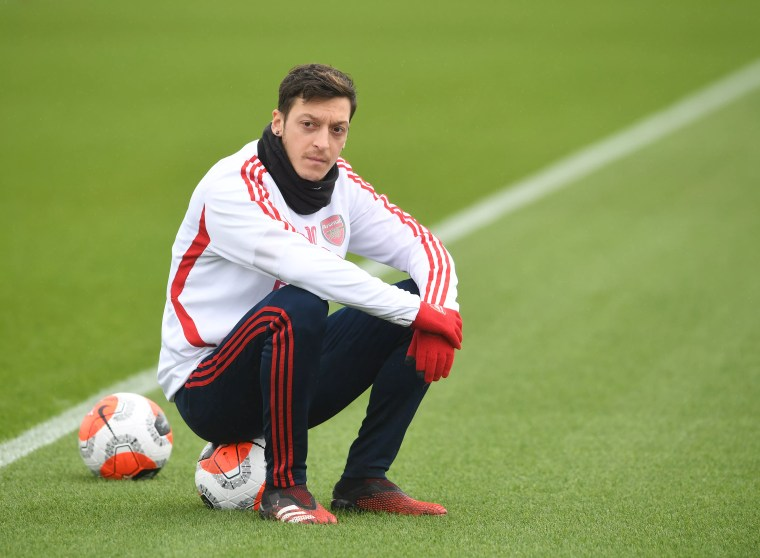 Mesut Ozil of Arsenal during Arsenal Training Session at London Colney on March 10, 2020.