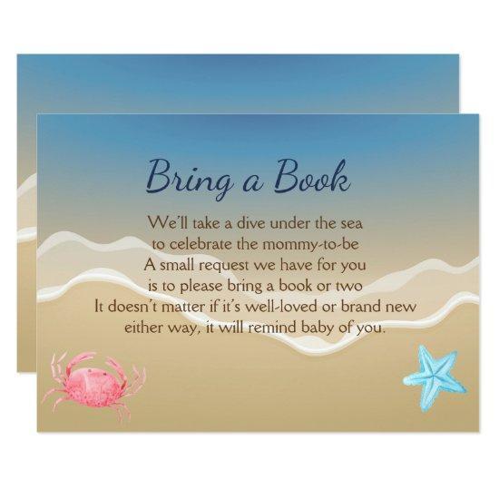 Bring A Book Baby Shower Card Beach Theme