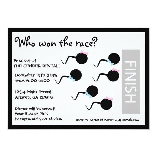 Funny Gender Reveal Party Invitation Race Baby