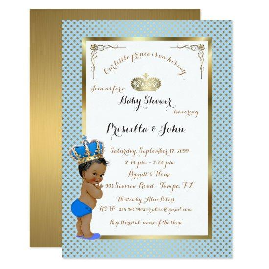 Little Prince Baby Shower Invitation Gold Blue Card