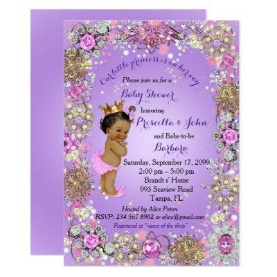 African American Prince Princess Baby Shower Invitations