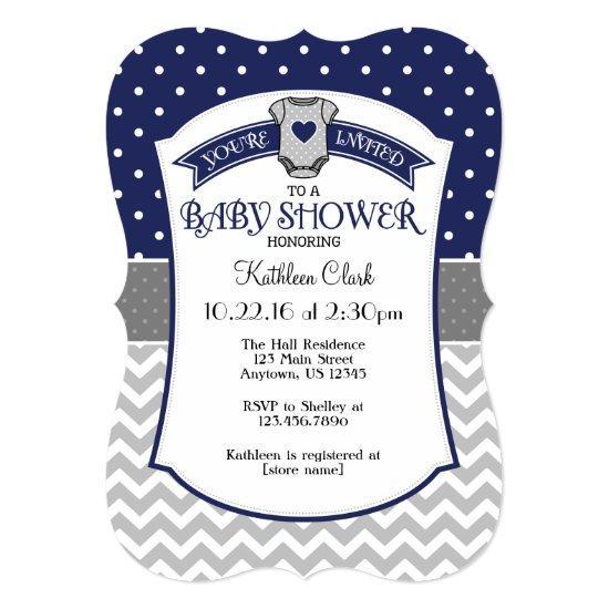Navy Blue Polka Dot Chevron Baby Shower