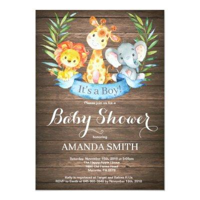 Rustic Elephant Safari Invitation Baby Shower Invitations