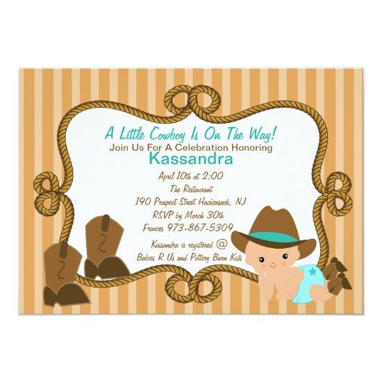 Western Little Green Cowboy Baby Shower Invitation