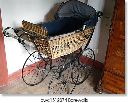 old fashioned baby stroller art print poster