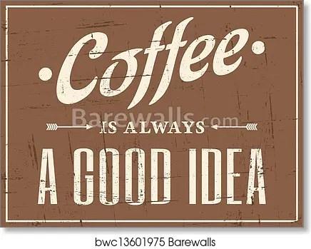 retro coffee poster art print poster