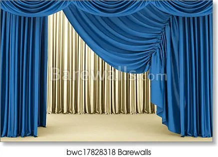blue theater curtain background art print poster
