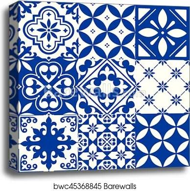 spanish tiles moroccan tiles design seamless navy blue pattern canvas print