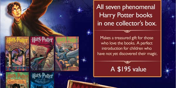 Book Cover Image. Titles: Harry Potter and the Sorcerer's Stone; Harry Potter and the Chamber of Secrets; Harry Potter and the Prisoner of Azkaban; Harry Potter and the Goblet of Fire; Harry Potter and the Order of the Phoenix, Author: J.K. Rowling. All seven phenomenal Harry Potter books in one collector's box. Makes a treasured gift for those who love the books. A perfect introduction for children who have not yet discovered their magic. A $195 value