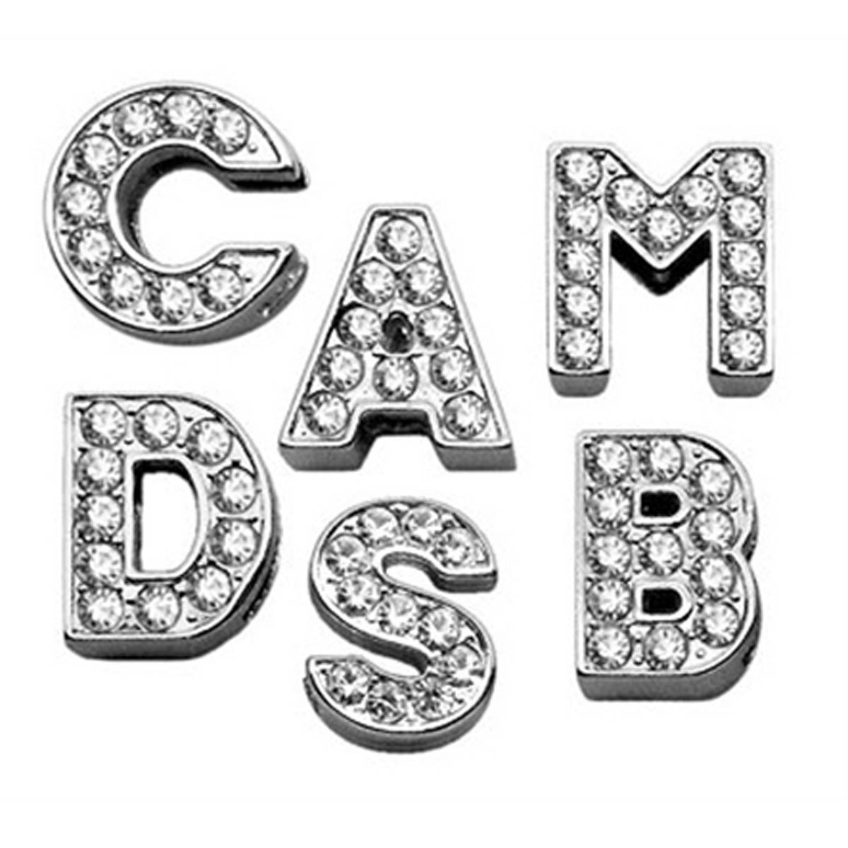 Clear Bling Lettering Slider Charms From A Z