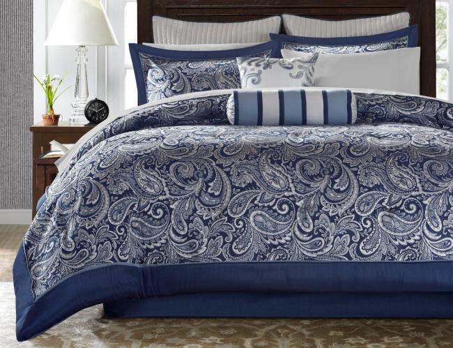 madison park aubrey navy 12 pc comforter set