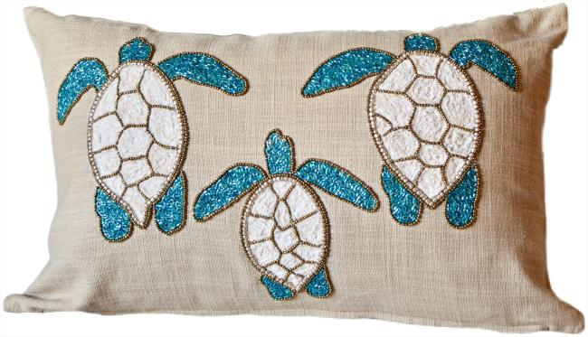 debage beaded sea turtles trio decorative pillow