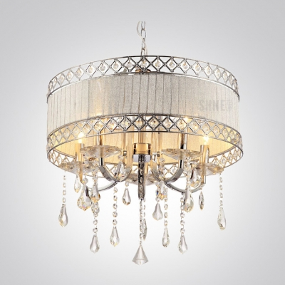 Hnad Cut Crystal Pendaloques Modern Drum Shade Electroplated 19 6