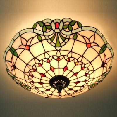 Three Light Hand Made Stained Glass Tiffany 3 Light Flush