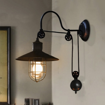 Industrial Style Adjustable 1 Light Wall Sconce In Black With Wire Guard Farmhouse Study Room Lights Beautifulhalo Com