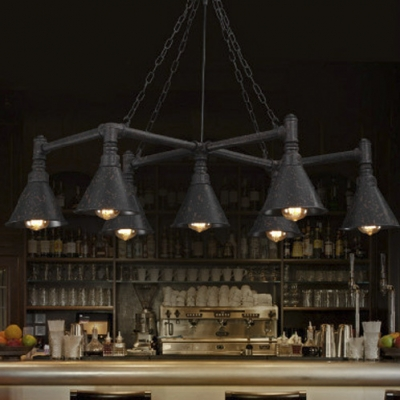7 Lights Large Chandelier In Antique Loft Design