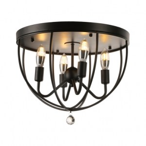Country Style 16   Wide 4 Light Foyer LED Flush Mount Ceiling Light     Country Style 16   Wide 4 Light Foyer LED Flush Mount Ceiling Light in Black