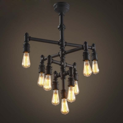 Vintage Style 26 Wide 9 Light Pipe Chandelier In Rust