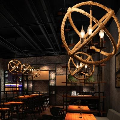 3 Light Twine Ceiling Lamp Rope Globe Chandelier 16 Wide