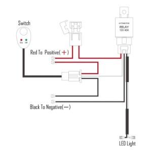 LED Light Bar Wiring Harness Kit 180W 12V 40A Fuse Relay