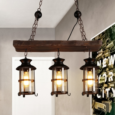 nautical wrought iron multi light pendant industrial wood 3 light island pendant with wire guard in black