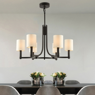 Cylinder Shade Dining Room Chandelier Metal 6 Lights American Rustic Pendant Lamp In Black Beautifulhalo Com