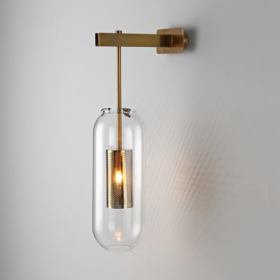 oblong clear glass wall lamp modern 1 bulb black gold sconce lighting with inner mesh cage