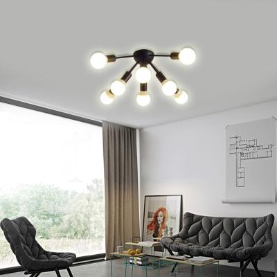 bare bulb bedroom ceiling light fixture metal 8 12 light modern flush mount light in black white