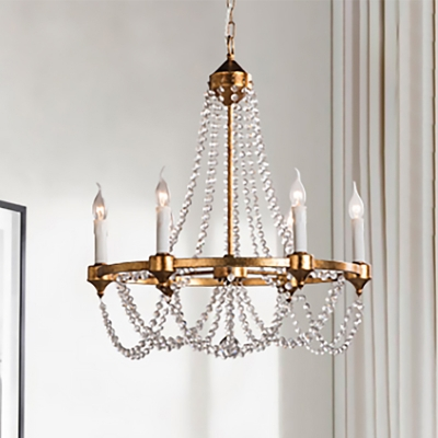 french country candle chandelier with crystal beads strand 6 lights metal aged brass pendant lighting
