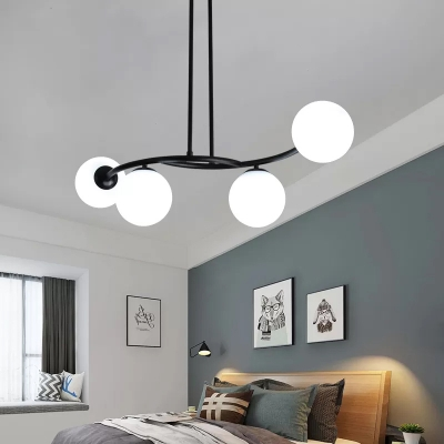 Milky Glass Orb Chandelier Light Modern Black Ceiling Light Fixture For Living Room Beautifulhalo Com