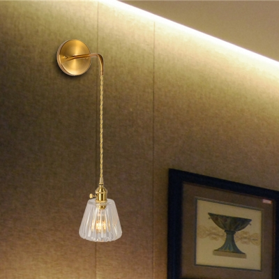 prismatic glass gold wall mounted lighting dome cone 1 bulb retro wall sconce light with circular back plate