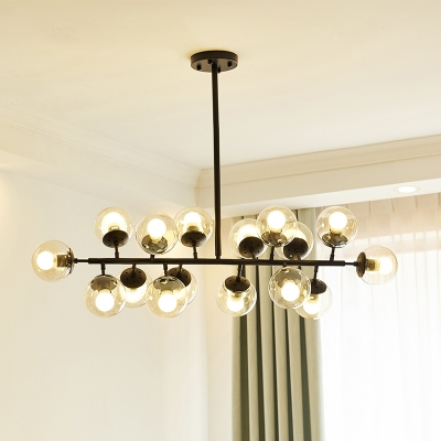 black linear chandelier lighting contemporary 16 lights metallic hanging lamp with ball clear glass shade