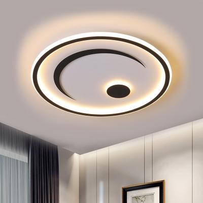 nordic moon sun ultra thin ceiling light acrylic bedroom led flush mount recessed lighting in black gold warm white light