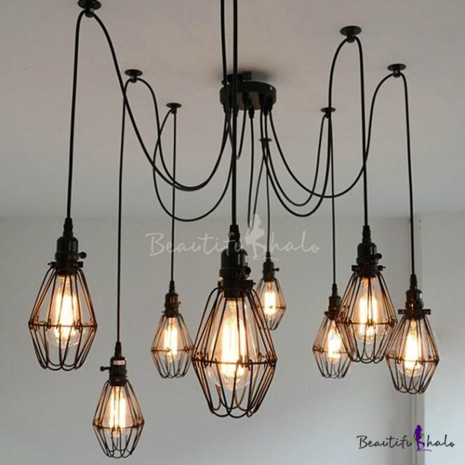Wire Guard 8 Bulbs Multi Light Pendant
