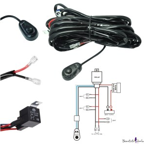 LED Light Bar Wiring Harness Kit 180W 12V 40A Fuse Relay ONOFF Waterproof Switch 4 Lead 2 Meter