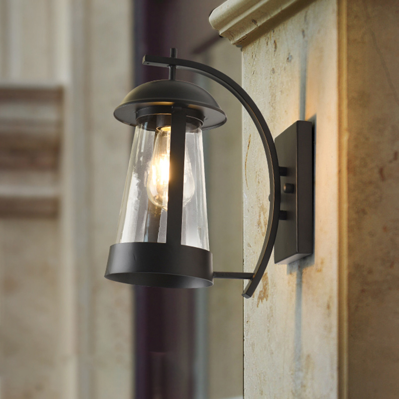 clear glass cone wall mount lamp loft style 1 light outdoor wall lighting ideas in black