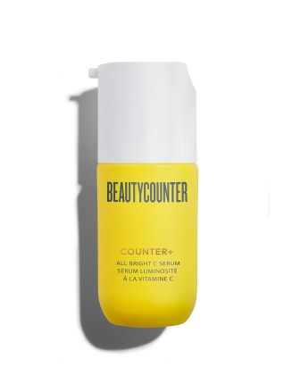 Beautycounter 30ml Counter+ All Bright Vitamin C Serum pump bottle on a white background