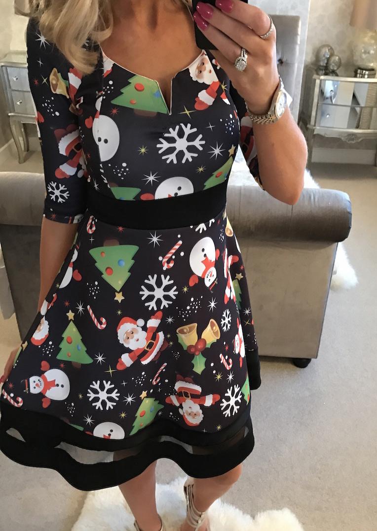 Christmas Tree Santa Snowman Mesh Casual Dress