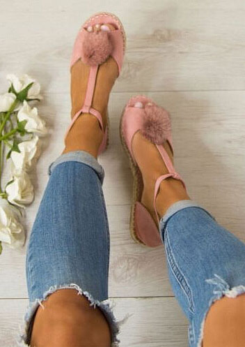 Solid Pompon Buckle Strap Flat Sandals