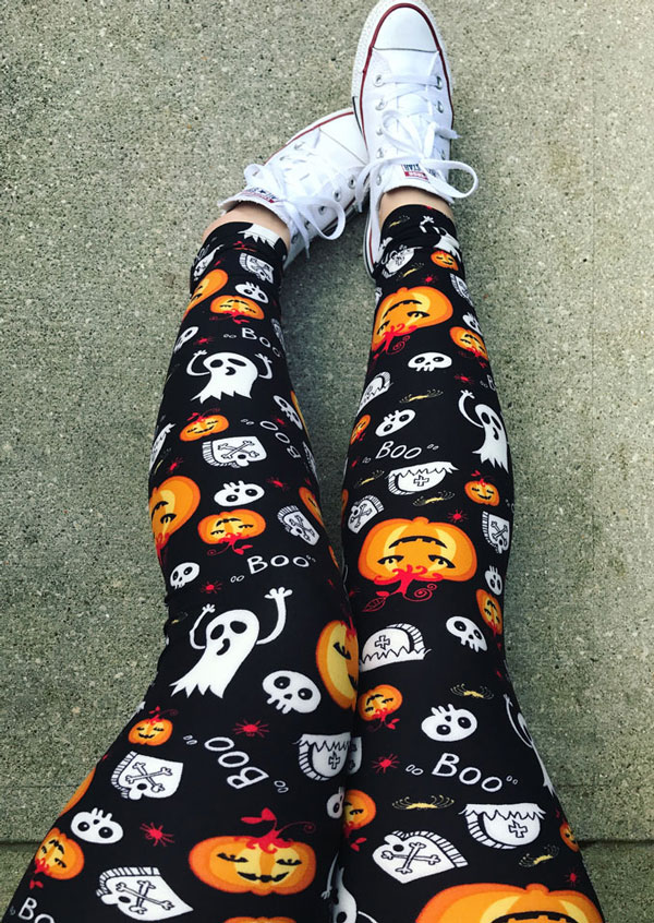 Halloween Pumpkin Ghost Skull Boo Leggings