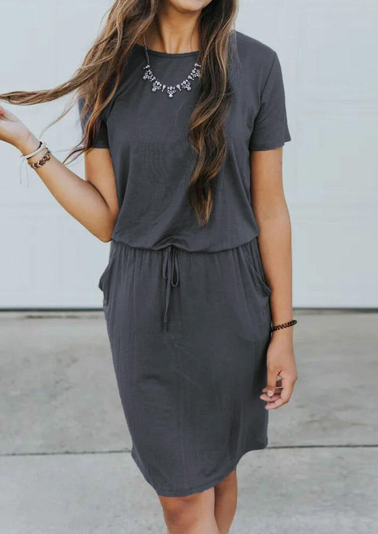 Solid Pocket Casual Dress without Necklace - Gray